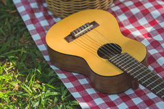 Picnic guitar outdoor. A guitar on a picnic mat. Outdoors recreation concept Stock Photos