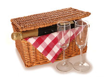 Picnic hamper with champagne Stock Image