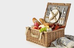 Picnic hamper packed with a tasty summer lunch stock photos