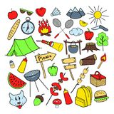 Picnic Hand Drawn Doodle. Outdoor Activities. Food, Nature, Camping Elements Royalty Free Stock Photo