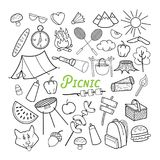 Picnic Hand Drawn Doodle. Outdoor Activities. Food, Nature, Camping Outlined Elements Royalty Free Stock Image