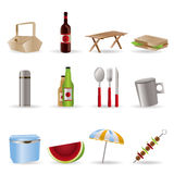 Picnic and holiday icons stock illustration