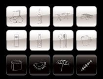 Picnic and holiday icons Royalty Free Stock Photography