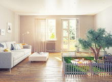Picnic in a home interior. 3D concept illustration Stock Photography