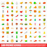100 picnic icons set, cartoon style. 100 picnic icons set in cartoon style for any design vector illustration Stock Illustration