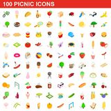 100 picnic icons set, isometric 3d style. 100 picnic icons set in isometric 3d style for any design illustration vector illustration