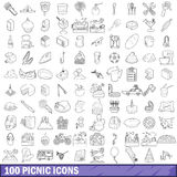 100 picnic icons set, outline style Royalty Free Stock Image