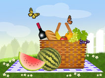 Picnic. Illustration of picnic with fruits Royalty Free Stock Images