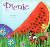Picnic Invitation Art. Watermelon Summer Spring Ant Flowers Cute Vector Food Park Grass hills stock illustration
