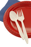 Picnic items. Plastic plate and flatware for a picnic Stock Photos