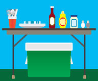 Picnic Items. Folding table in yard surrounded by picnic accessories vector illustration