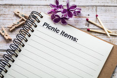 Picnic items list concept Stock Image