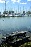 Picnic In The Lake. A picnic table improperly placed in the marina with all logos and names removed from boats Stock Photo