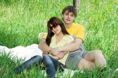 Picnic of lovers Royalty Free Stock Photo