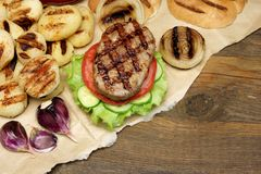 Picnic Lunch With Homemade BBQ Grilled Burgers, Top View Royalty Free Stock Photography