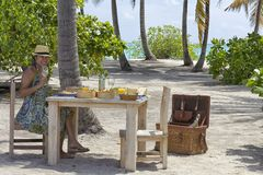 Picnic lunch on tropical island setting Stock Photo