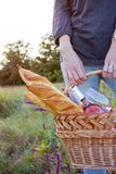 Picnic in the meadow. Summer - Girl with a basket goes on a picnic Royalty Free Stock Images
