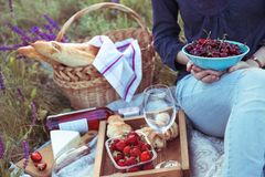 Picnic in the meadow. Summer - girl at the picnic in the meadow. Cheese brie, baguette, strawberry, cherry, wine, croissants and basket Royalty Free Stock Photos