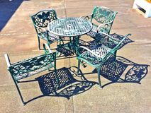 Picnic metallic table and chairs Stock Image