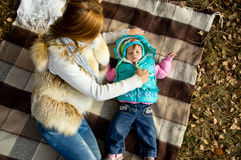 Picnic, a mother and daughter Stock Images