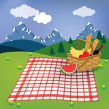 Picnic in the mountain is spring. Picnic mat and basket full of food in the mountain in springtime vector illustration