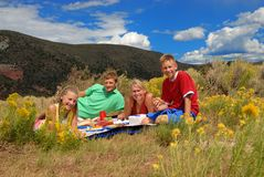 Picnic in mountains. Family picnic in the mountains Stock Photos