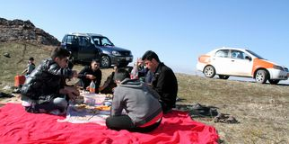 Picnic on mountains. A family when they are climbing the mountains to have a picnic in a village near qaladiza town stock photo