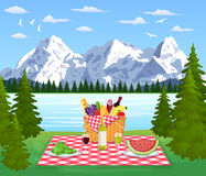 Picnic in the Mountains. WIcker picnic basket full of products. Vector illustration in flat style Stock Images