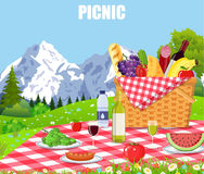 Picnic in the Mountains. WIcker picnic basket full of products. Vector illustration in flat style stock illustration