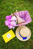 Picnic on nature. Beautiful flowers in a basket and yellow album lie on the grass-bright picnic Royalty Free Stock Photos