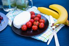 Picnic on nature. Bright summer picnic-tasty food and bright emotions Royalty Free Stock Image