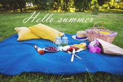 Picnic on nature. Bright summer picnic - tasty food and bright emotions-inscription hello summer Stock Images