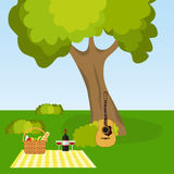 Picnic in nature, outdoor recreation under a tree. Flat design, illustration royalty free illustration