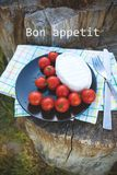 Bright summer picnic. Picnic on the nature - a plate with cheese and tomatoes on a napkin is an inscription of a bon appetit Stock Photo