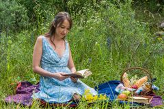 Picnic in nature at summer. Young woman in romantic blue dress i Royalty Free Stock Image