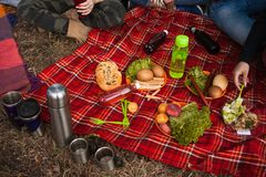 Picnic nature time delicious food drink concept. How to organize a hike Stock Photo