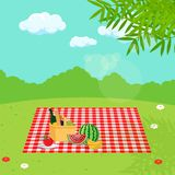 Picnic in nature. Vector illustration. Painted in shape vector illustration
