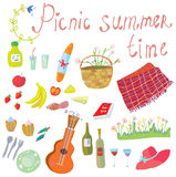 Picnic objects for romantic summer date Royalty Free Stock Photos