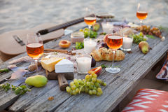 Free Picnic On The Beach At Sunset In Boho Style, Food And Drink Conc Stock Images - 86652104