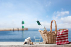 Picnic for one person at the sea Stock Photography