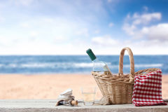 Picnic for one person at the sea. Rest with Wine at the sea Stock Image
