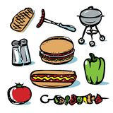 Picnic outdoor grilling food icon collection Royalty Free Stock Photos