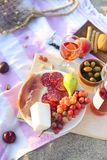 Picnic outdoor with rose wine fruits meat and cheese royalty free stock photo