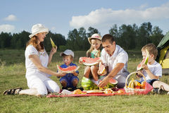 Picnic outdoors with food Royalty Free Stock Photography