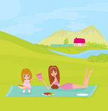 Picnic in a park. A  illustration of a family having a picnic in a park Royalty Free Stock Images