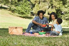 Picnic in park. Smiling happy parents and son having picnic in park Royalty Free Stock Photography