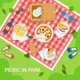 Picnic in park. With a basket, food and cutlery on red gingham, top view. Flat style vector illustration stock illustration