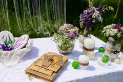 Picnic in the park. Blue lupine flowers, candles and letters, beautiful decor. Gingerbread bake Royalty Free Stock Images