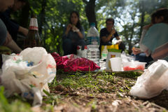 Picnic in a park. Blurred people in the background. On a sunny day Stock Images