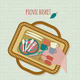 Picnic in park with dishes and cutlery Royalty Free Stock Photo